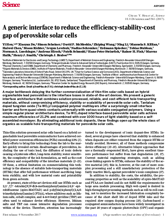 "Towards entry ""Yi's article on his 21.2% perovskite material system is published in the journal of science"""