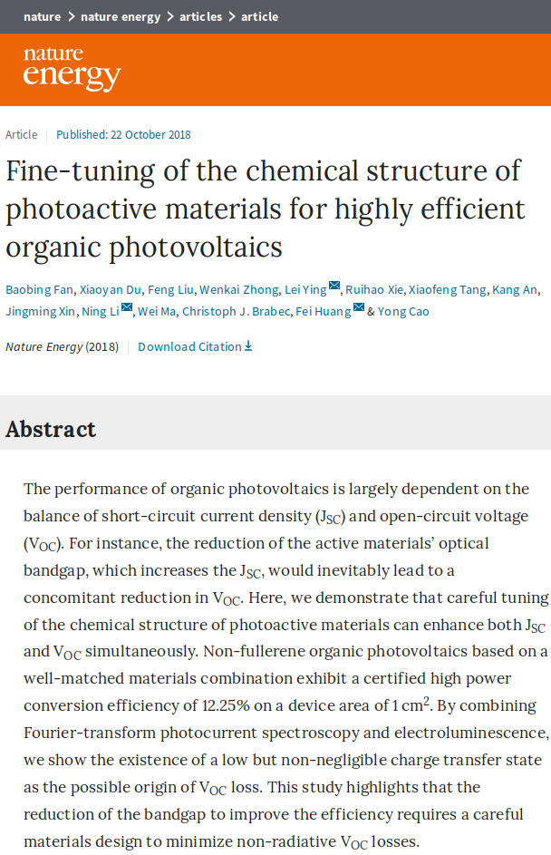 "Towards entry ""Congratulations to Ning and Baobing – they report their molecular fine-tuning for record-breaking OPV performance in Nature Energy"""
